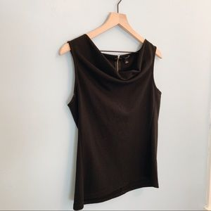 Ann Taylor Sleeveless Cowl Neck Top Black